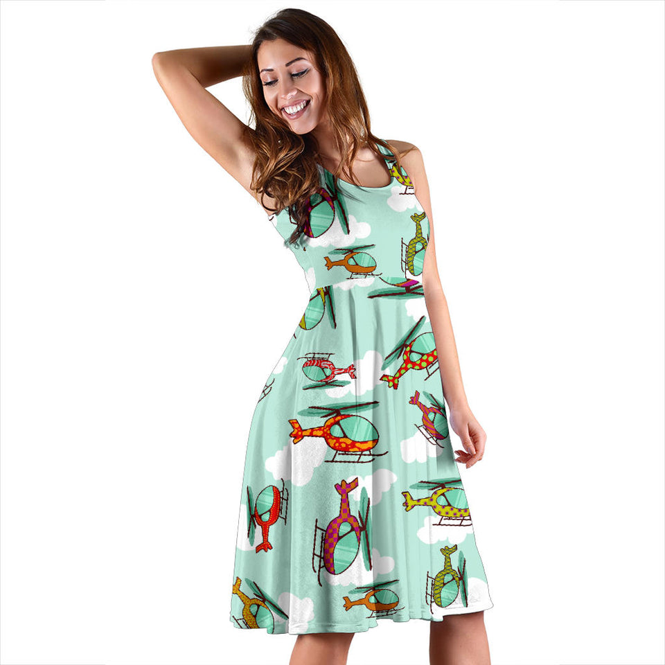 Helicopter Design Pattern Sleeveless Midi Dress