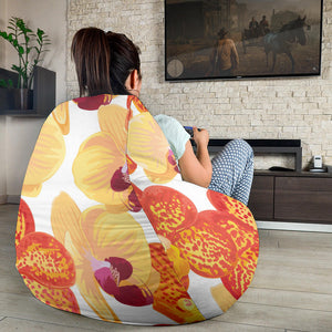 Orange yellow orchid flower pattern background Bean Bag Chair