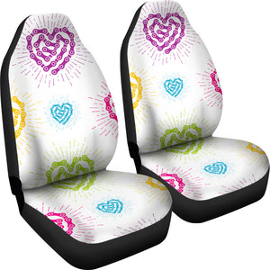 White Chain Heart Car Seat Covers