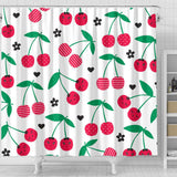 Cherry Pattern White Background Shower Curtain Fulfilled In US