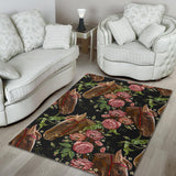 Horse head wild roses pattern Area Rug