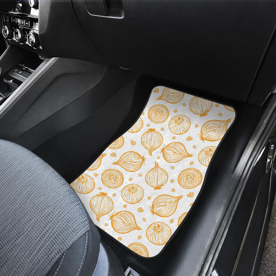 Hand Drawn Onion Pattern Front Car Mats