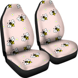 Cute Bee Flower Pattern Pink Background  Universal Fit Car Seat Covers