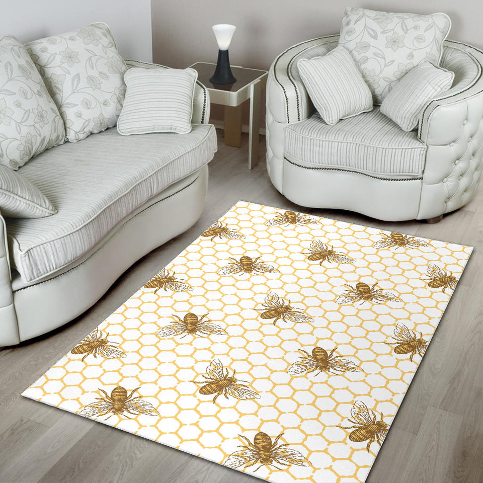 Bee Honeycomb Seamless Design Pattern Area Rug