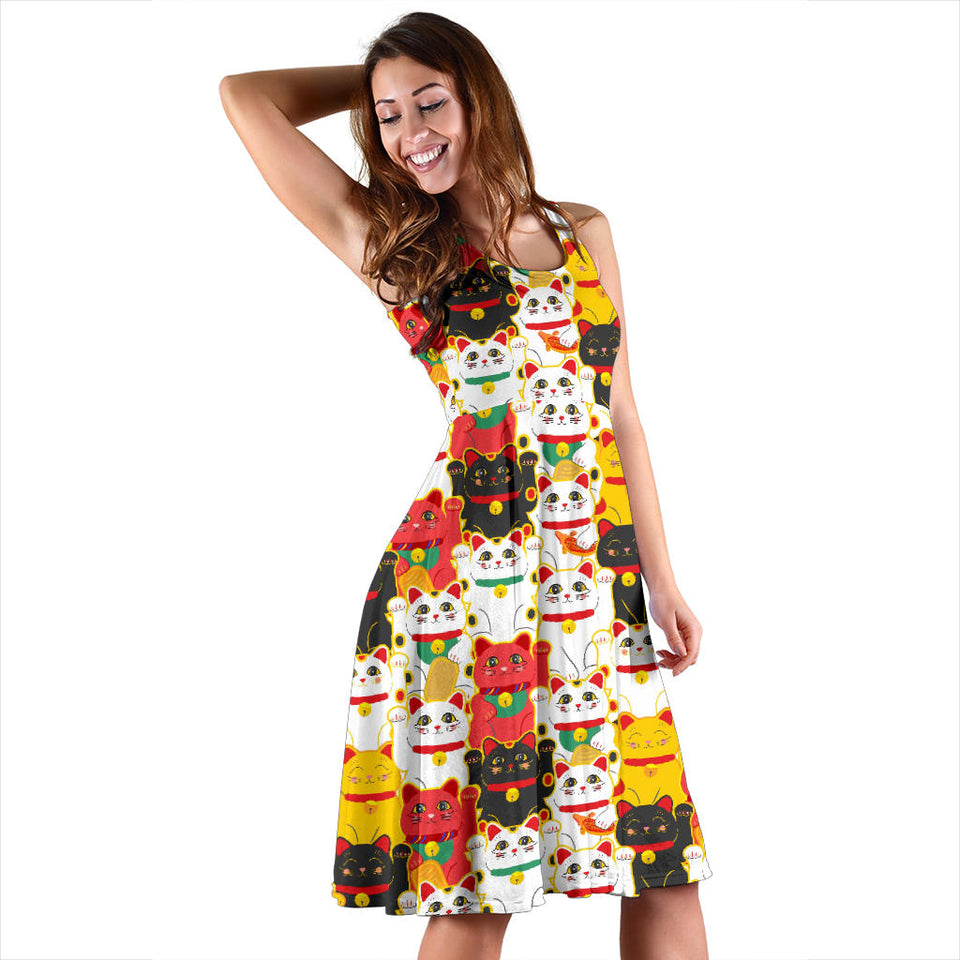 Colorful Maneki Neko Lucky Cat Pattern Sleeveless Midi Dress