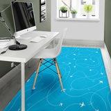 Airplane Destinations Blue Background Area Rug