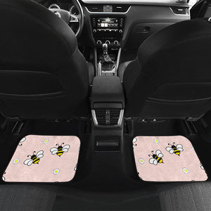 Cute Bee Flower Pattern Pink Background Front And Back Car Mats