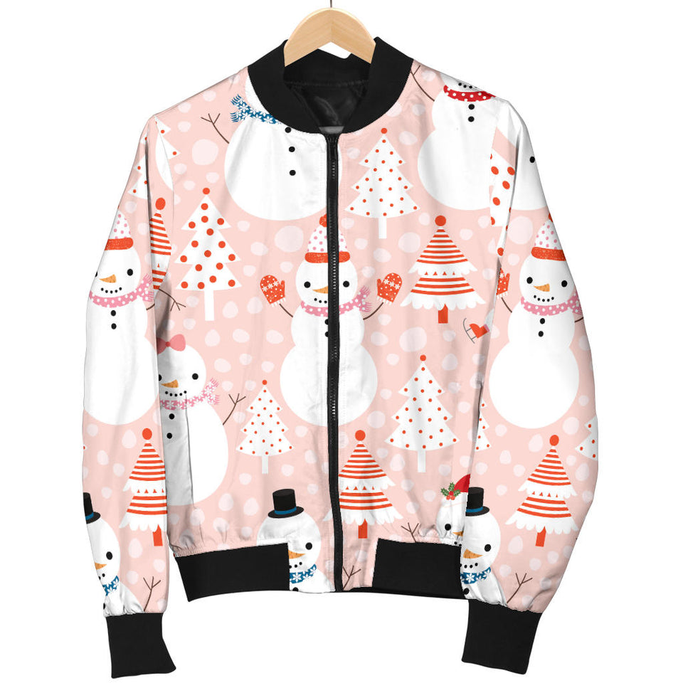 Cute Snowman Christmas Tree Snowpink Background Men S Bomber