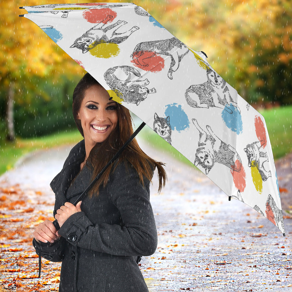 Siberian Husky And Colorful Circle Pattern Umbrella