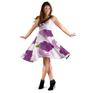 Cute Grape pattern Sleeveless Midi Dress