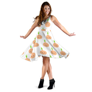 Cute Onions Smiling Faces Sleeveless Midi Dress