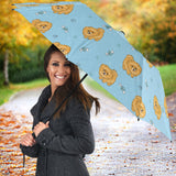 Brown Cute Pomeranian Blue Blackground Umbrella