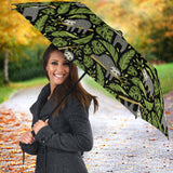 Cute Sloths Tropical Palm Leaves Black Background Umbrella