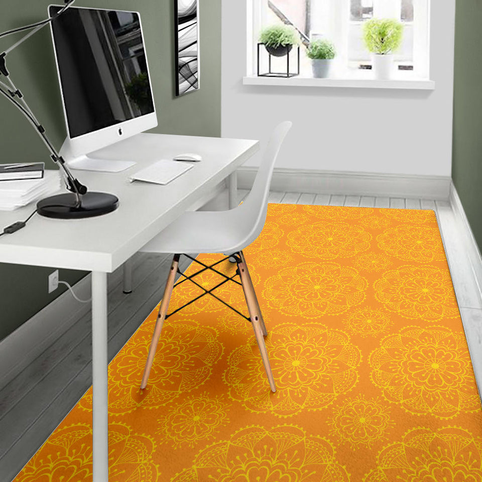 Orange traditional indian element pattern Area Rug