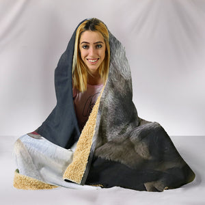 Beige Lounging Pug Hooded Blanket