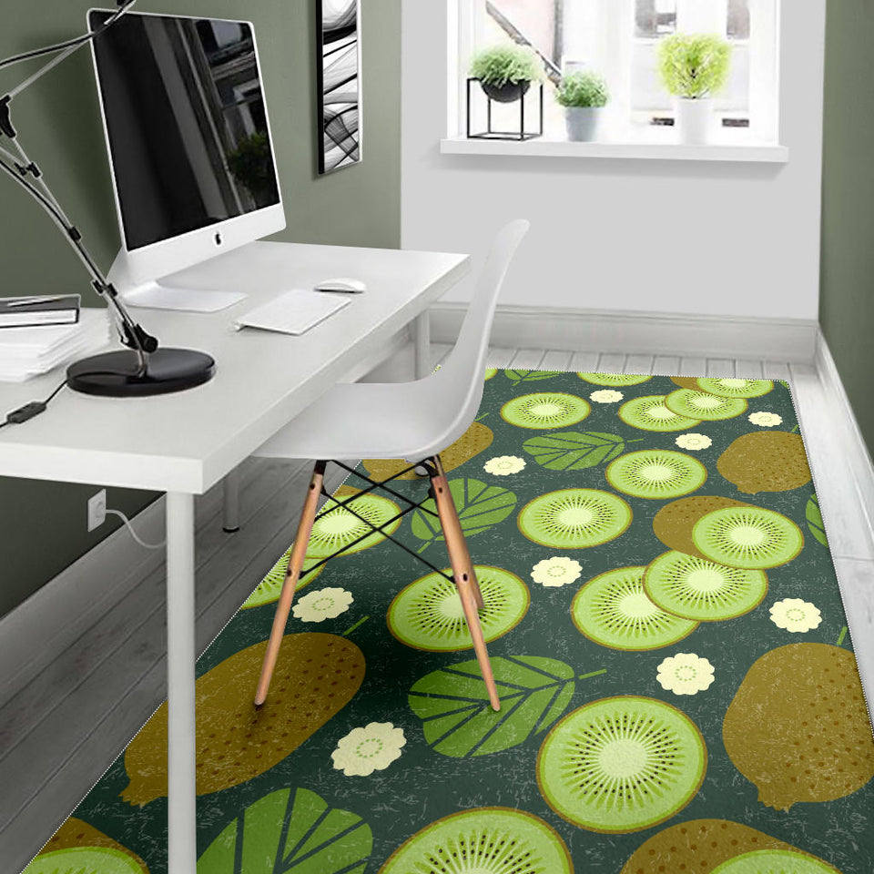 Whole Sliced Kiwi Leave And Flower Area Rug