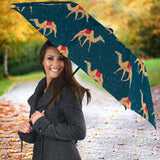 Camel Pattern Blue Blackground Umbrella