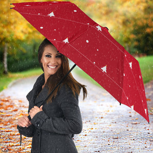 Christmas tree star snow red background Umbrella