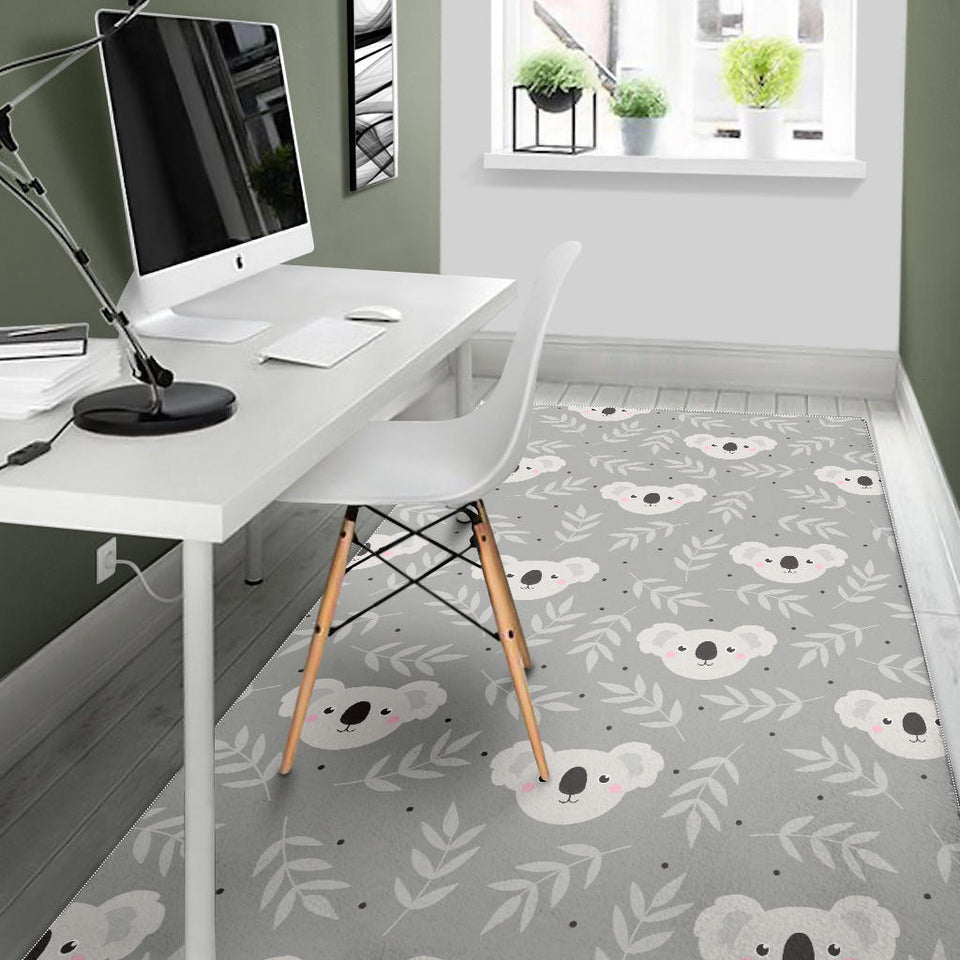 Cute koala leaves pattern Area Rug