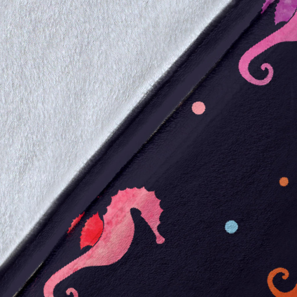 Watercolor Colorful Seahorse Pattern Premium Blanket