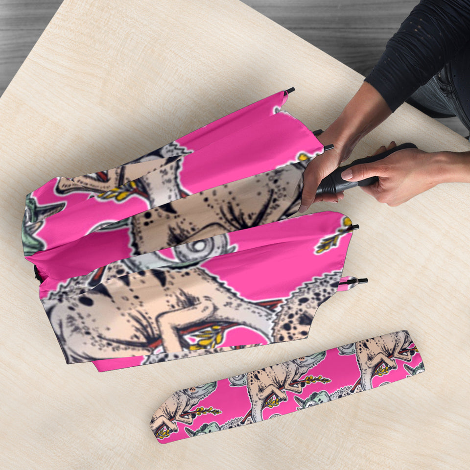 Chameleon Lizard Pattern Pink Background Umbrella