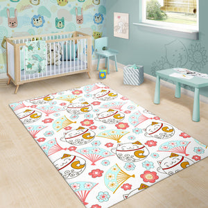 Maneki Neko Lucky Cat fan sakura Area Rug
