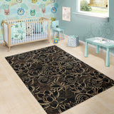 luxurious gold lotus waterlily black background Area Rug