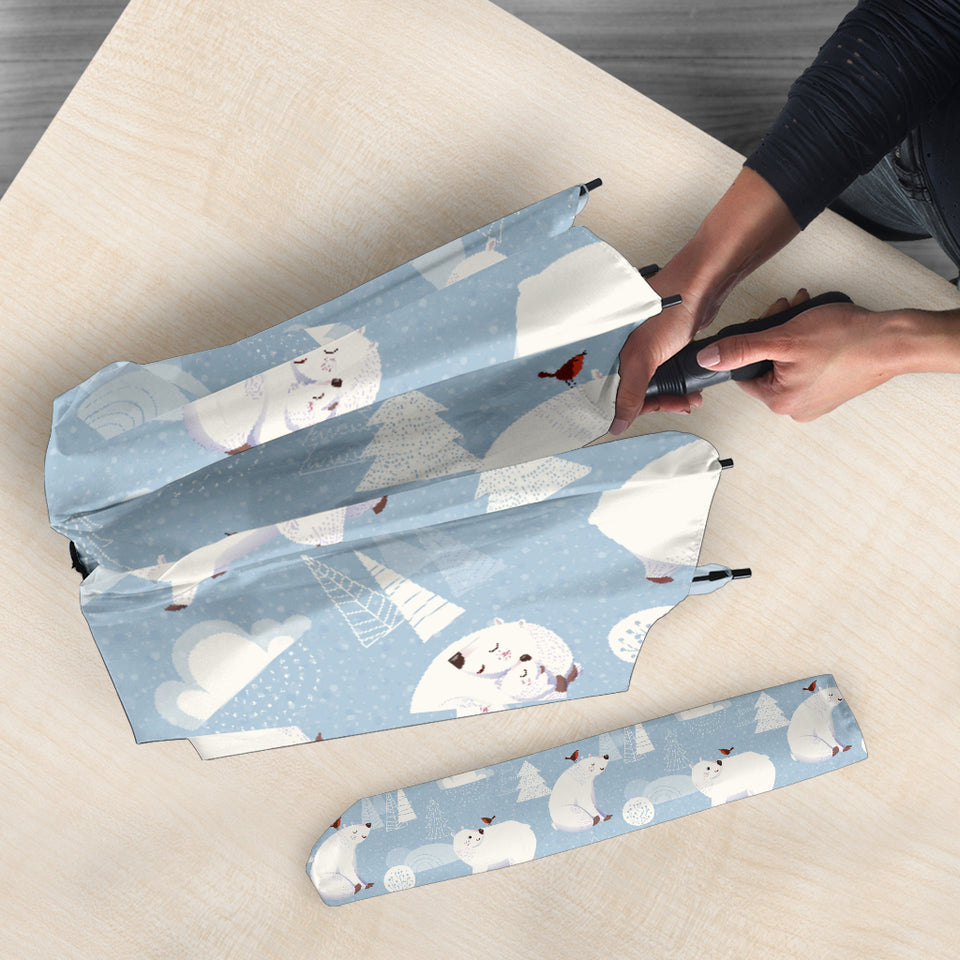 Cute Polar Bears Christmas Decoration Pattern Umbrella
