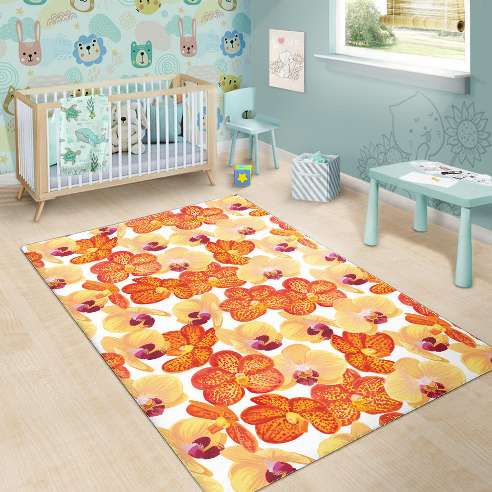 Orange Yellow Orchid Flower Pattern Background Area Rug