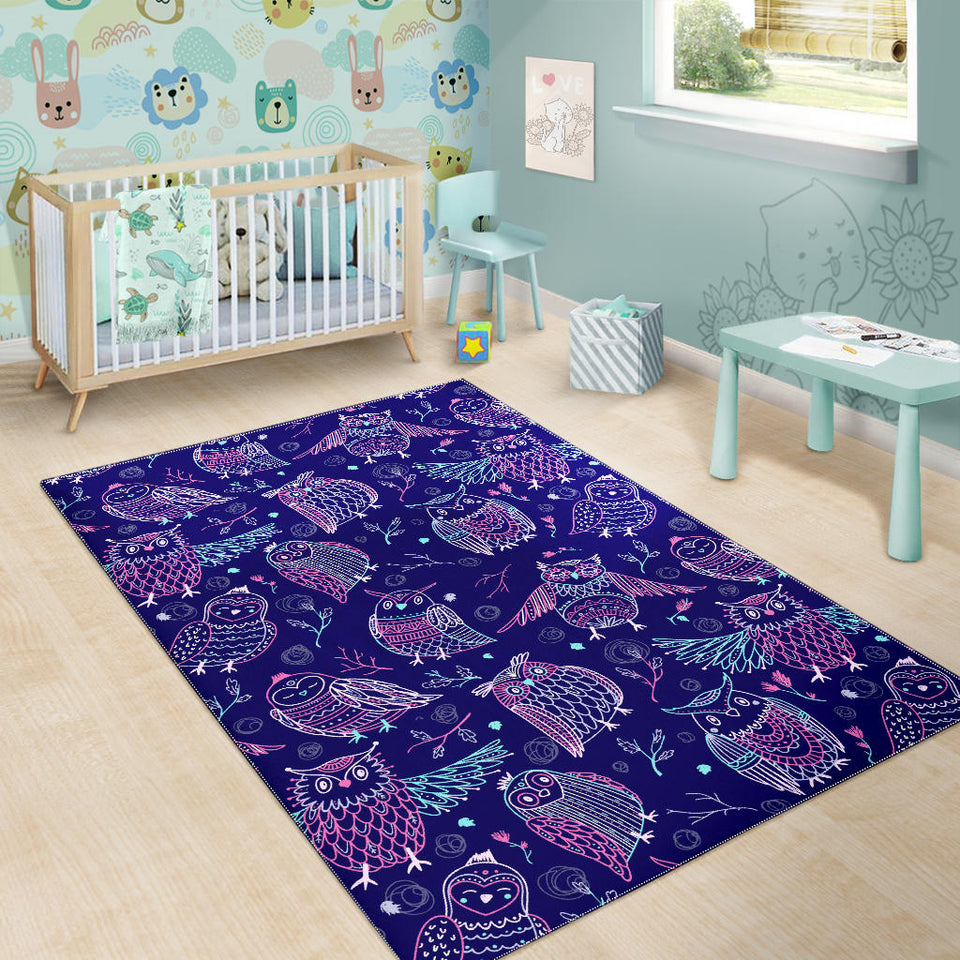 Cute owls pattern boho style ornament Area Rug