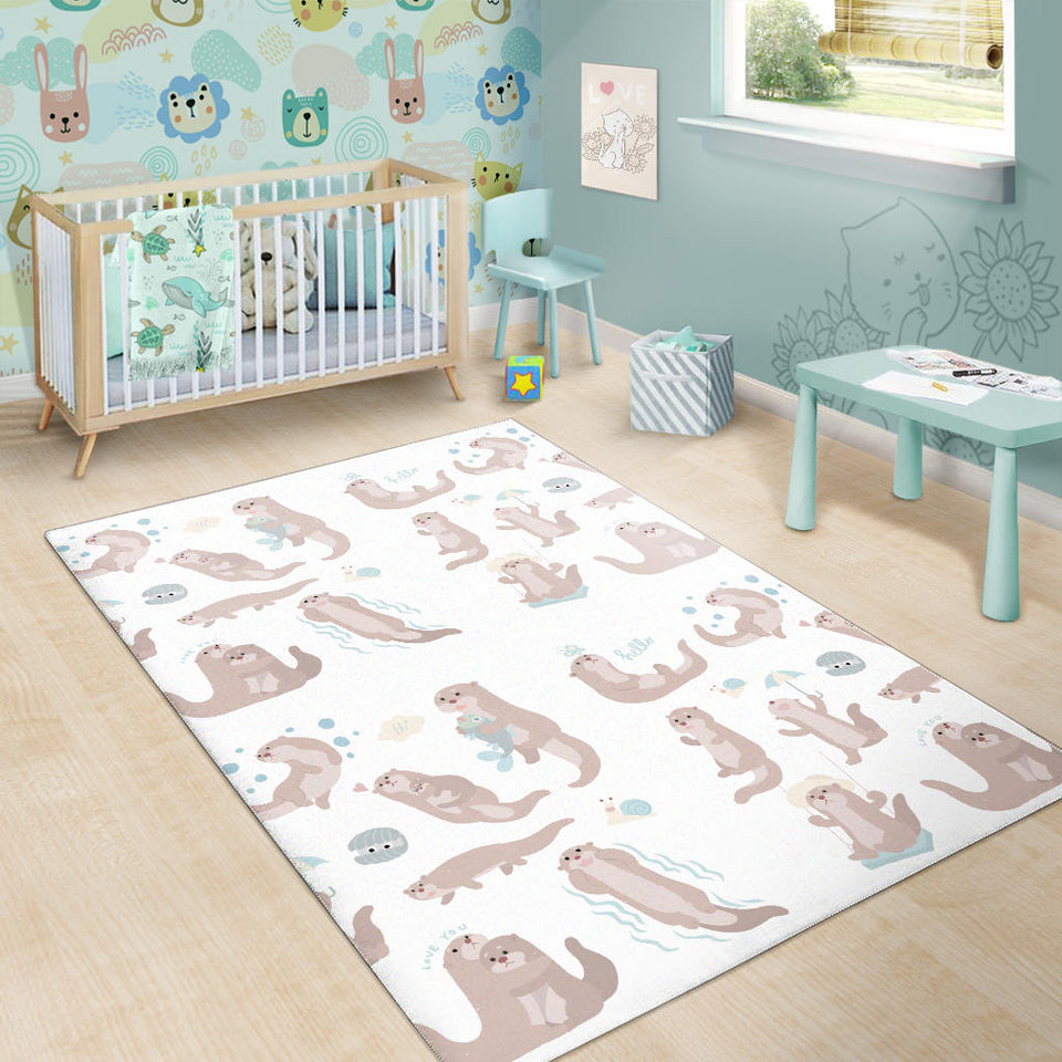 Cute Sea Otters Pattern Area Rug