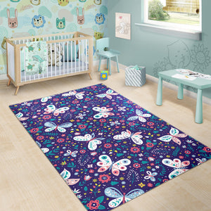 Colorful Butterfly Flower Pattern Area Rug
