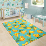 Banana Palm Leaves Pattern Background Area Rug