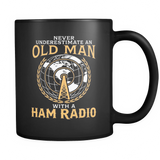 Black Mug-Never Underestimate an Old Man With a Ham Radio ccnc001 hr0008