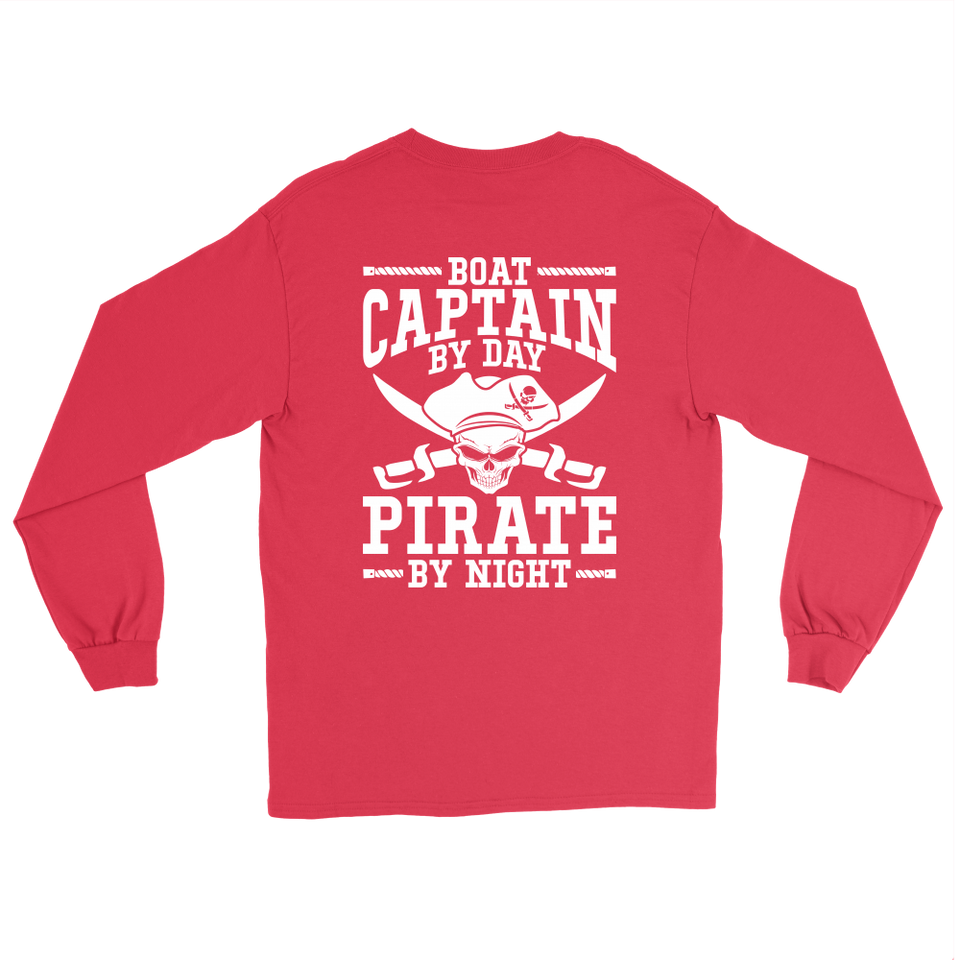 Back Side Printed Shirt -Boat Captain By Day Pirate By Night ccnc006 bt0091