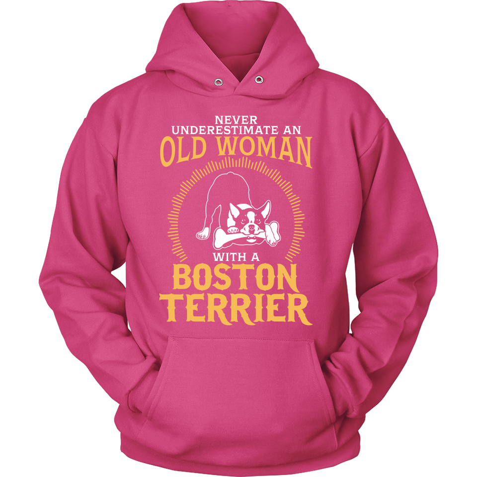 Shirt-Never Underestimate an Old Woman With a Boston Terrier ccnc003 dg0043