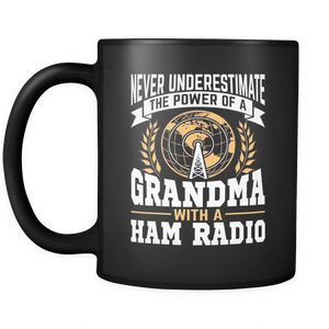 Black Mug-Never Underestimate The Power of a Grandma With a Ham Radio V.2 ccnc001 hr0031