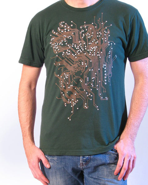 Circuit Board Tee- Circuit Board Tshirt- Hunter Green or Black American Apparel Shirt with metallic ink.