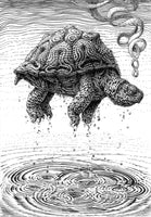Rising Turtle Ink Drawing