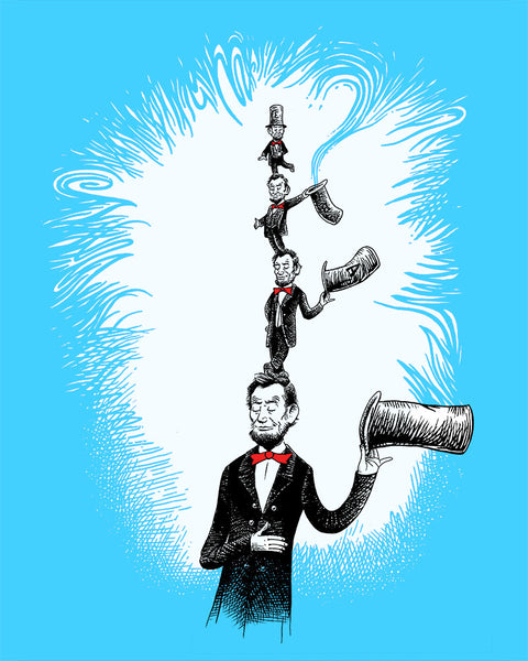 Abraham Lincoln Dr. Seuss cartoon- Abraham Lincoln as The Cat in the Hat- Dr Seuss homage- Abraham Lincoln homage