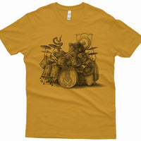 Mens Octopus Drummer Tshirt in Antique Gold