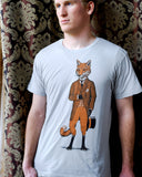 fox shirt- Dapper Fox Tshirt - Gentleman Fox - Fox in a Suit printed on an American Apparel Tshirt
