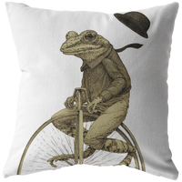 Penny Farthing Frog Pillow