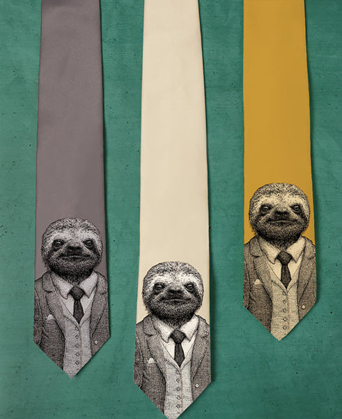 sloth screen printed on a tie