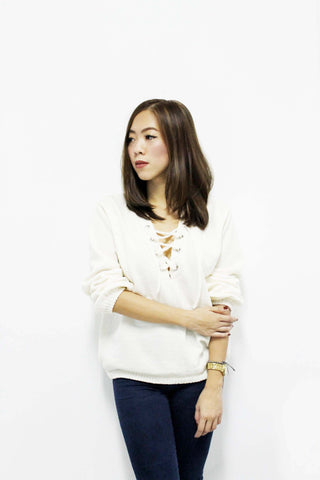 Cozy Lace-Up Sweater - Cream