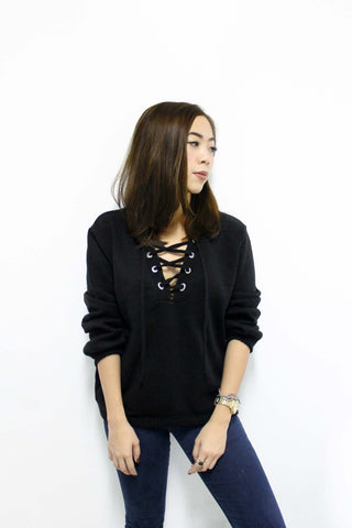 Cozy Lace-Up Sweater - Black