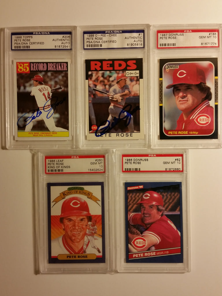 Pete Rose Baseball Card Lot Of 5 Psa 10s And Autod