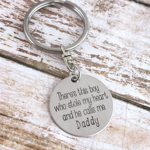 BOY MEANINGFUL DISK KEYCHAIN