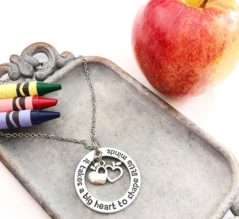 BIG HEART TEACHER -WASHER NECKLACE