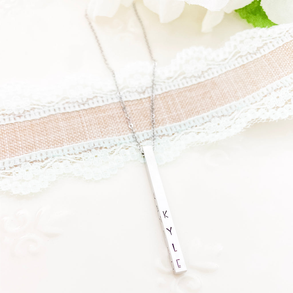 DAINTY FOUR SIDED BAR NECKLACE